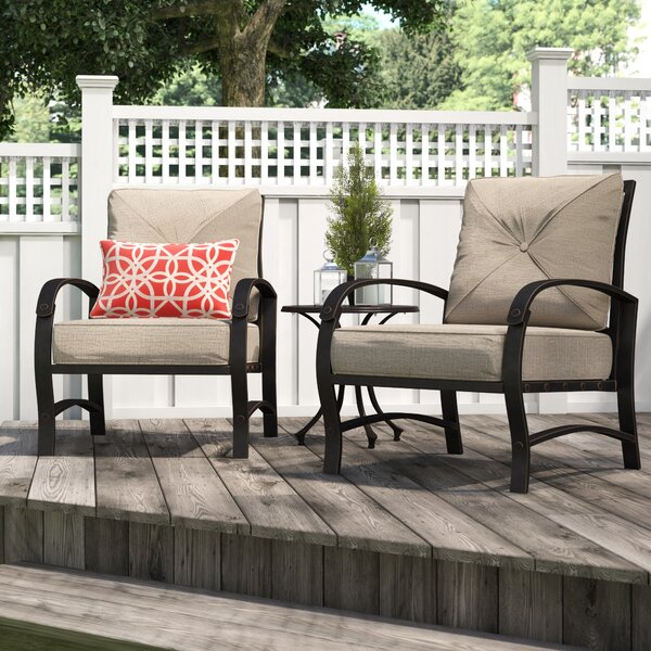 Kain Club Patio Chair with Cushion (Set of 2) by Red Barrel Studio