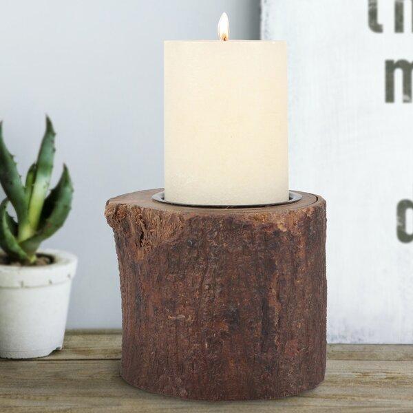 Bark Stump Pillar Wood Votive by Millwood Pines