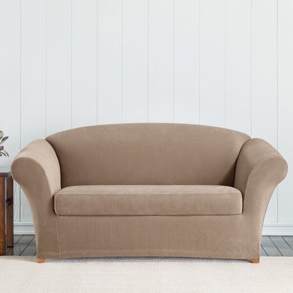 Stretch Corduroy Box Cushion Loveseat Slipcover by Sure Fit