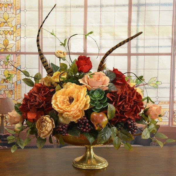 Silk Floral Hydrangeas Centerpiece in Vase by Fleur De Lis Living