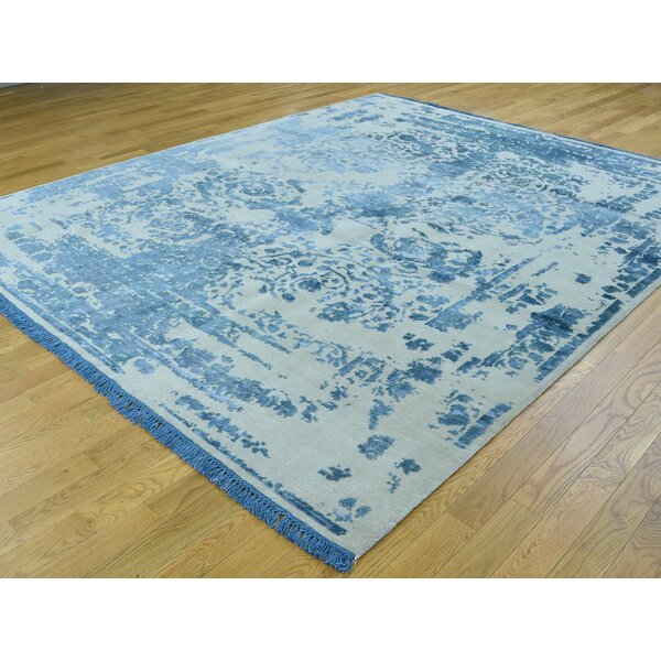 One-of-a-Kind Braylen Broken Design Handwoven Blue Wool/Silk Area Rug by Isabelline