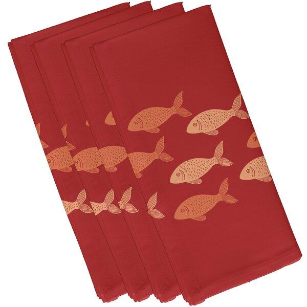 Golden Lakes Fish Line Coastal Napkin (Set of 4) by Beachcrest Home