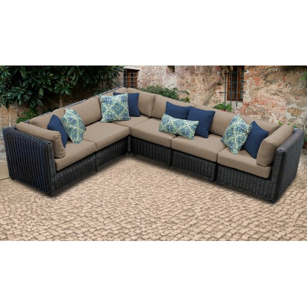 Mejia Wicker Patio Sectional with Cushions by Rosecliff Heights