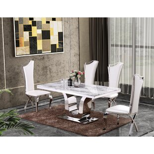 Malmesbury Marble 5 Piece Dining Set By Everly Quinn