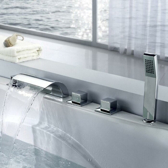 Sumerain Triple Handle Deck Mount Waterfall Tub Faucet with ...