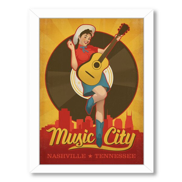 Pinup Music City Framed Vintage Advertisement by East Urban Home