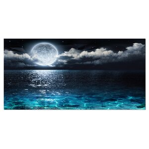 'Romantic Full Moon Over Sea' Graphic Art on Wrapped Canvas by Design Art