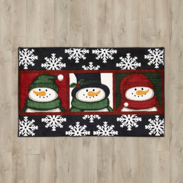 3 Snowman Faces Black Area Rug by The Holiday Aisle