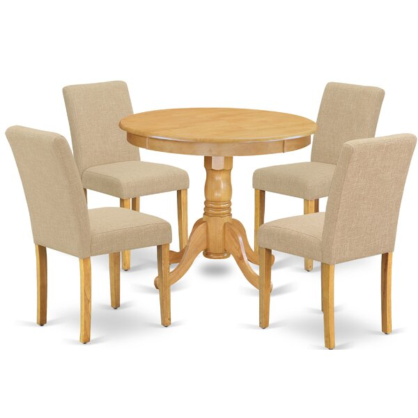 Schooley 5 Piece Solid Wood Dining Set by Charlton Home Charlton Home