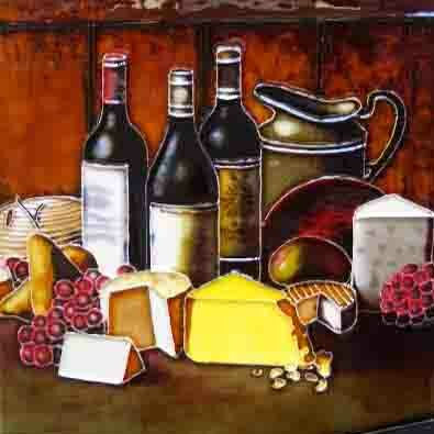 Wine with Cheese in Yellow Tile Wall Decor by Continental Art Center