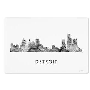 Detroit Michigan Skyline WB-BW by Marlene Watson Graphic Art on Wrapped Canvas by Trademark Fine Art