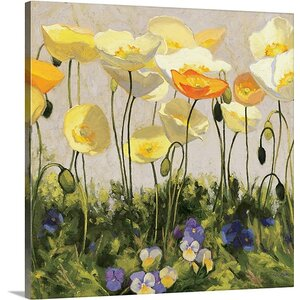 'Poppies and Pansies II' by Shirley Novak Painting Print on Wrapped Canvas by Great Big Canvas