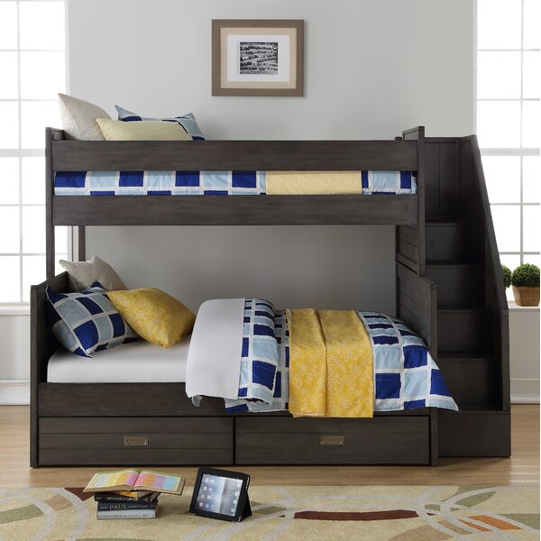 Staggs Twin Over Full Bunk Bed with Bookcase and Drawers by Harriet Bee