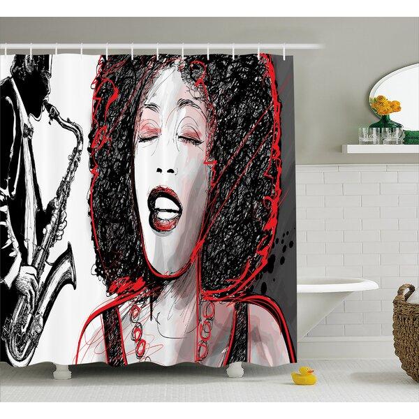 Houten Afro American Girl Sings Print Shower Curtain by Ebern Designs