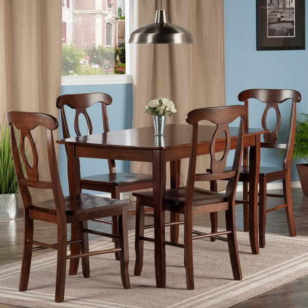 Fetter 5 Piece Solid Wood Dining Set by Red Barrel Studio