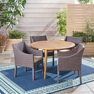 Liberatore Outdoor 5 Piece Dining Set with Cushions By Bungalow Rose