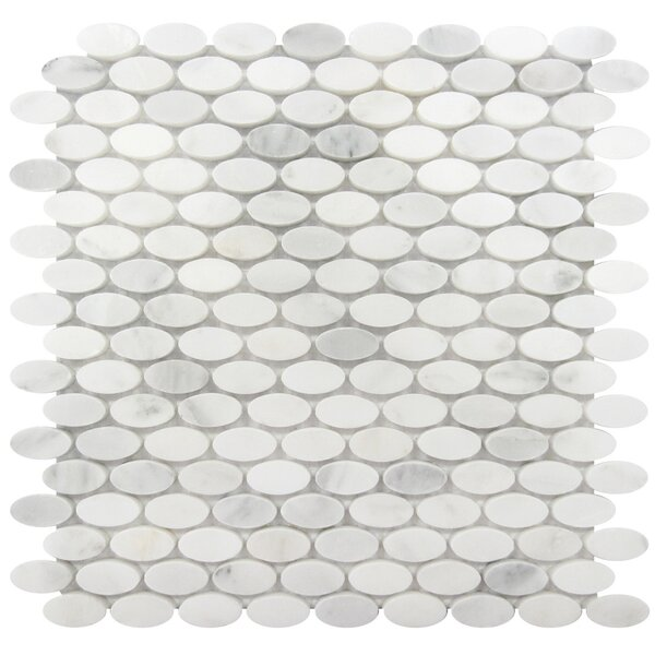 0.6 x 1.25 Marble Mosaic Tile in White Statuary by Luxsurface