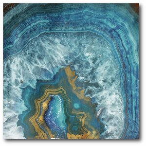 'Blue and Gold Agate' Graphic Art Print on Wrapped Canvas by Courtside Market