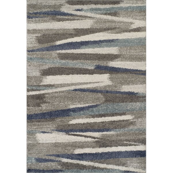 Sammy Shag Ivory/Blue Area Rug by Williston Forge