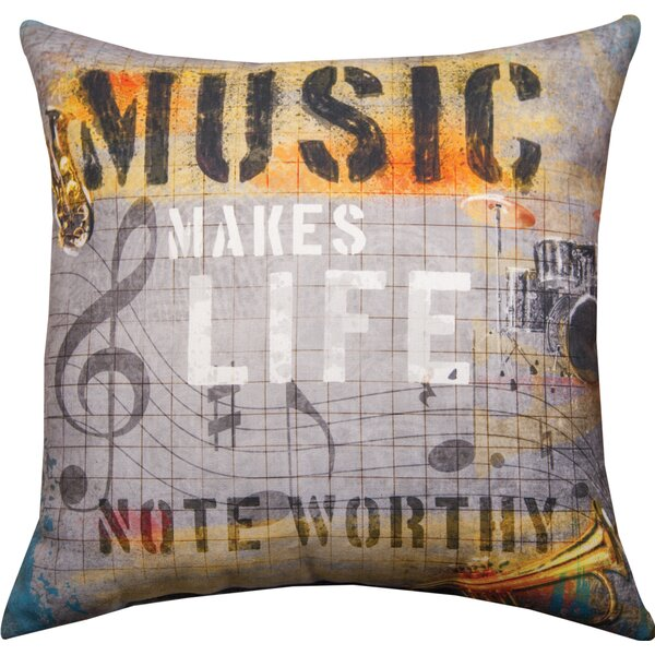 Music Makes Life...Rec Dye Throw Pillow by Manual Woodworkers & Weavers
