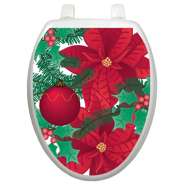 Holiday Poinsettia Toilet Seat Decal by Toilet Tattoos