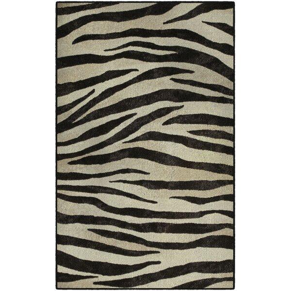 Metzger Zebra Stripes Animal Print Black/Ivory Area Rug by World Menagerie