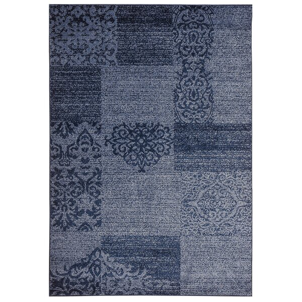 Lebec Lotus Boxes Blue Rug