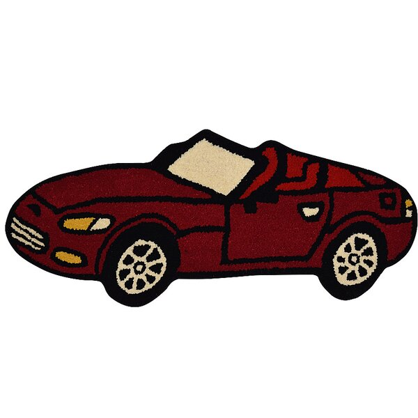 Glenville Kids Novelty Car Hand-Tufted Wool Red Area Rug by Zoomie Kids