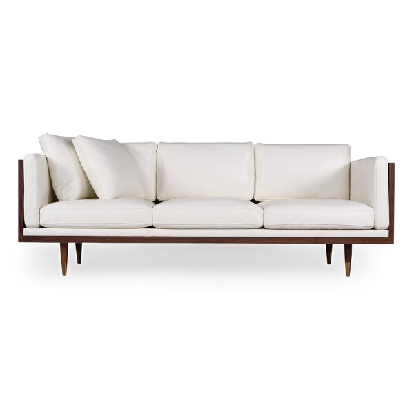 Ledger Midcentury Genuine Leather Standard Sofa by Modern Rustic Interiors