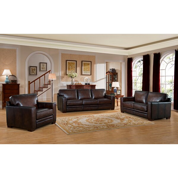 Mcdonald Traditional Leather 3 Piece Living Room Set By World Menagerie Savings