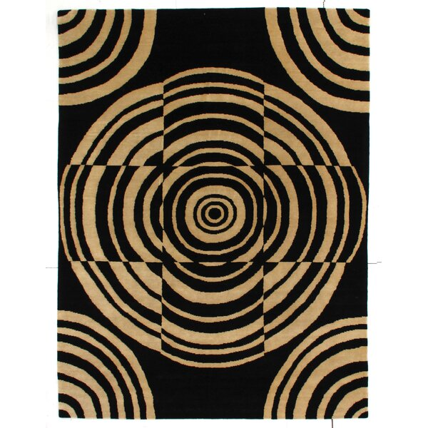 Metropolitan Hand Knotted Wool Black/Ivory Area Rug by Exquisite Rugs