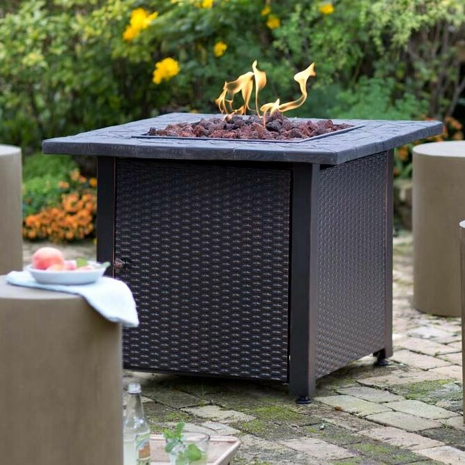 Nice Propane Gas Fire Pit Part - 8: Wicker Propane Gas Fire Pit Table