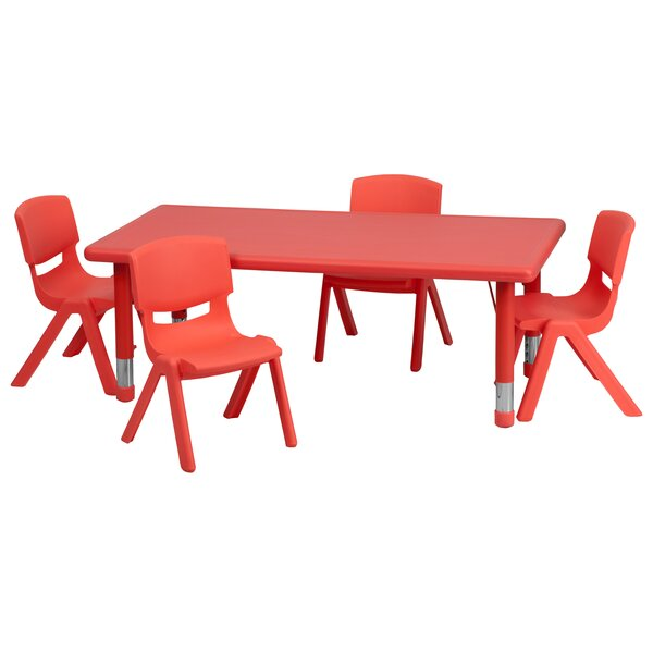 5 Piece Rectangular Activity Table & 10.5 Chair Set by Flash Furniture