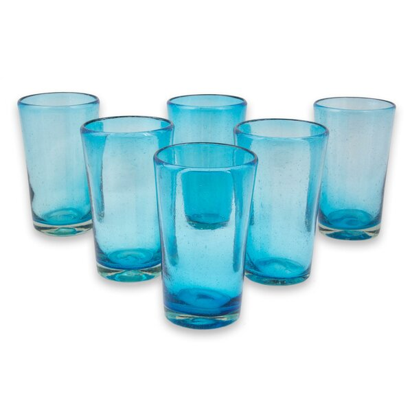 Ellicottville Aquamarine Bubbles Blown Highball Glass (Set of 6) by Latitude Run