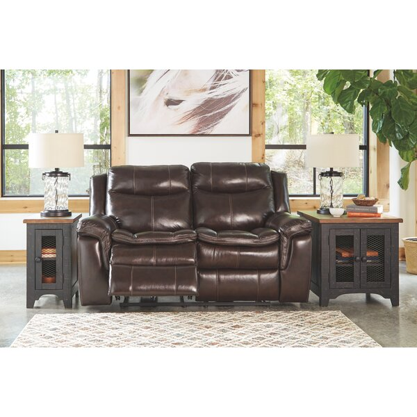 Chic Dunnell Leather Reclining Loveseat by Millwood Pines by Millwood Pines