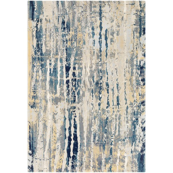 Oakdene Abstract Aqua/Butter Area Rug by Wrought Studio