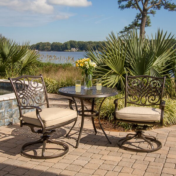 Carleton 3 Piece Swivel Bistro Set With Cushions By Fleur De Lis Living