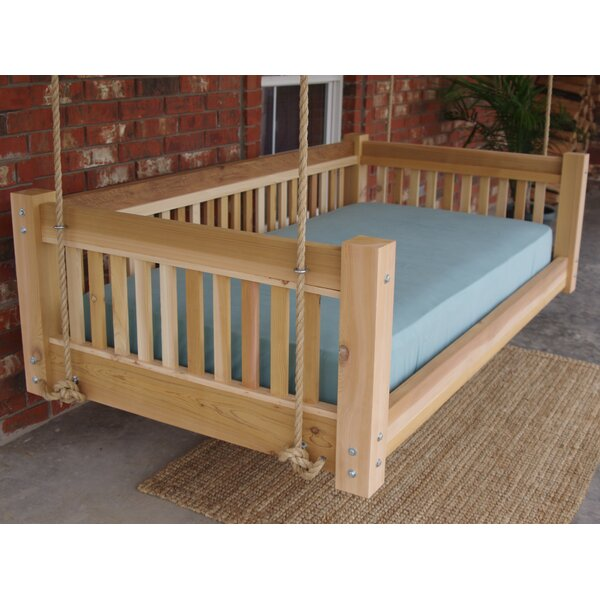 Longbridge Cedar Hanging Daybed Rope Porch Swing by Millwood Pines Millwood Pines