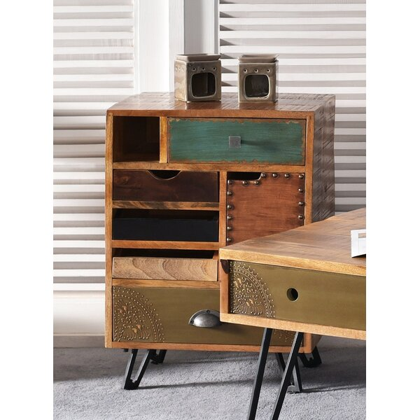 Monico 5 Drawer 1 Door End Table by World Menagerie