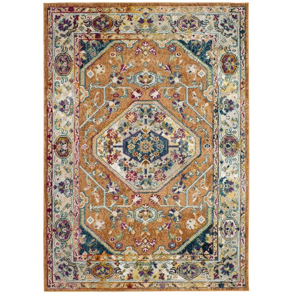 Mcintosh Orange/Blue Area Rug  by Bloomsbury Market