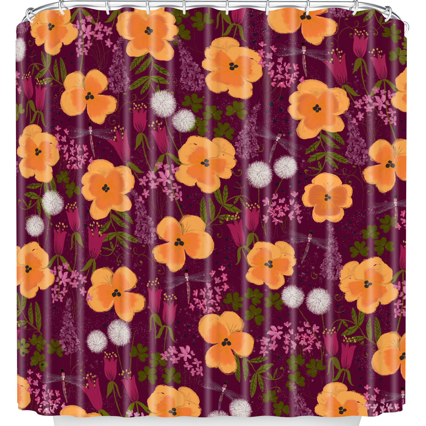 East Urban Home Dandelions And Wild Pansies Shower Curtain