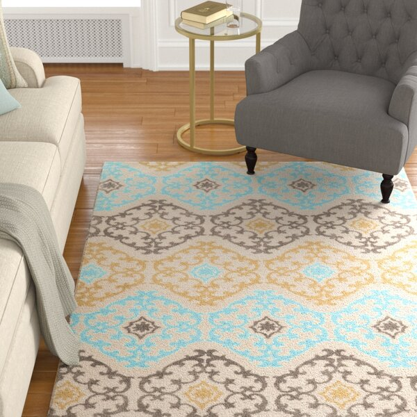 Sprottle Hand-Tufted Beige/Blue/Green Area Rug by Charlton Home