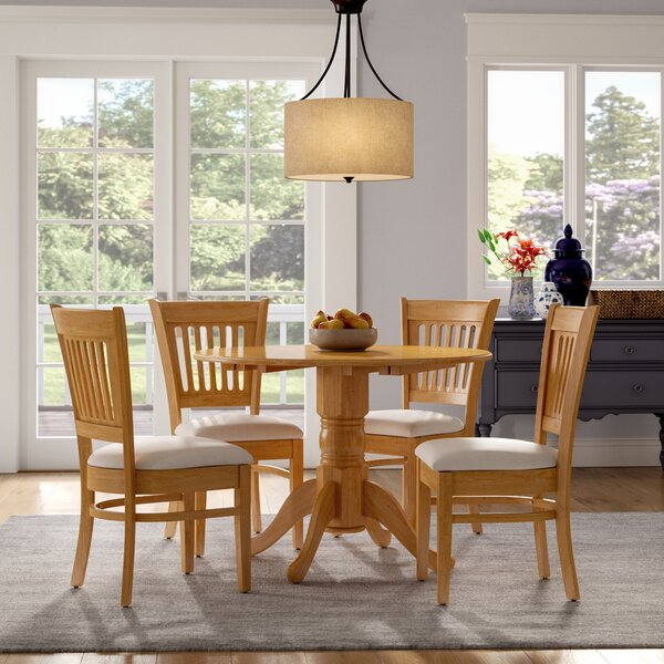 Chesterton Transitional 5 Piece Drop Leaf Solid Wood Dining Set by Alcott Hill Alcott Hill