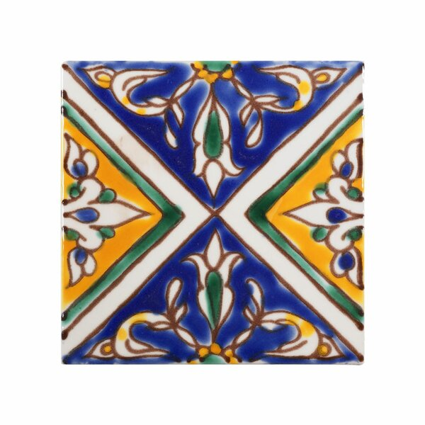 Mediterranean 4 x 4 Ceramic Split Decorative Tile in Blue by Casablanca Market