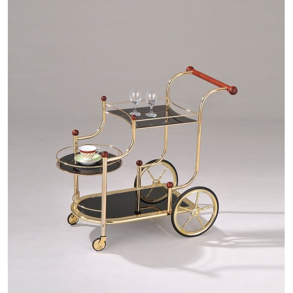 Monahan Golden Plated and Black Glass Serving Bar Cart by Alcott Hill
