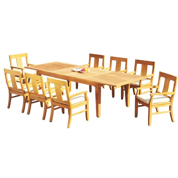 Rahul 9 Piece Teak Dining Set by Rosecliff Heights