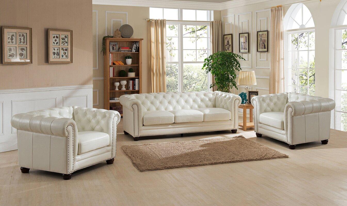 Amax Nashville 3 Piece Leather Living Room Set