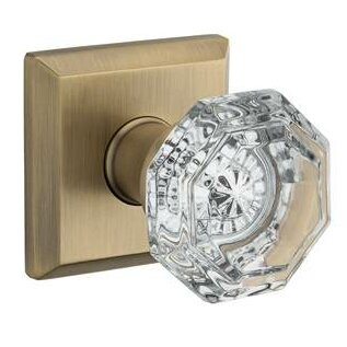 Crystal Privacy Door Knob with Traditional Square