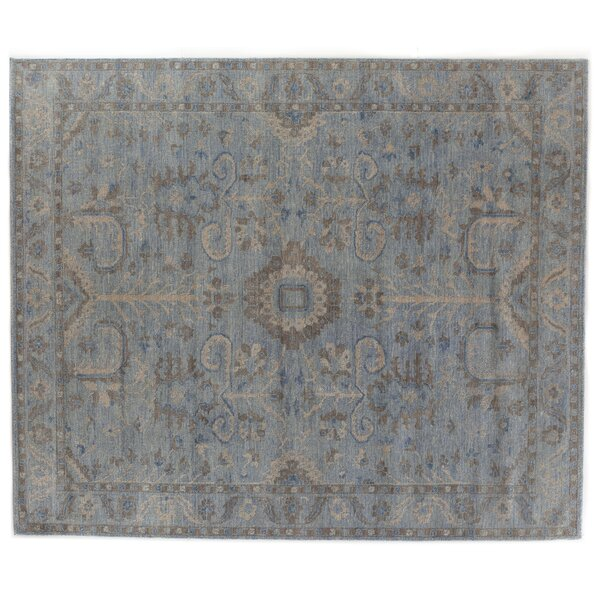 Serapi Hand-Knotted Wool Blue/Beige Area Rug by Exquisite Rugs