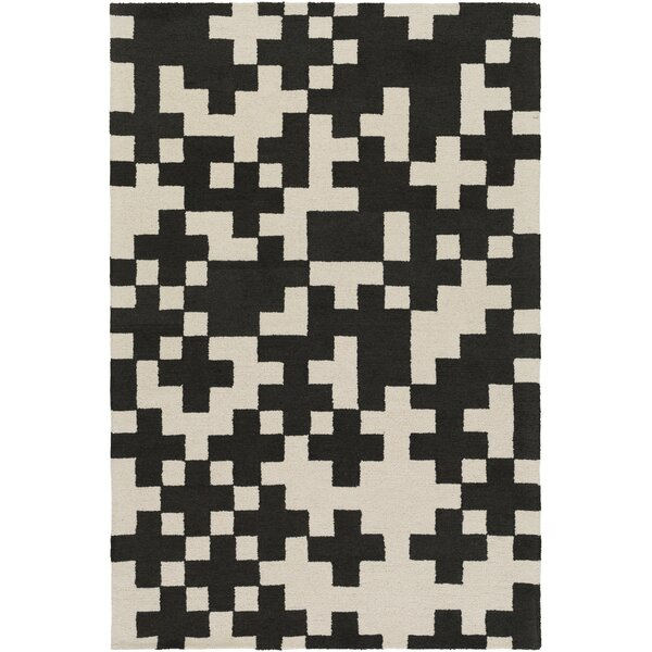 Youngman Hand-Crafted Black/Cream Area Rug by George Oliver